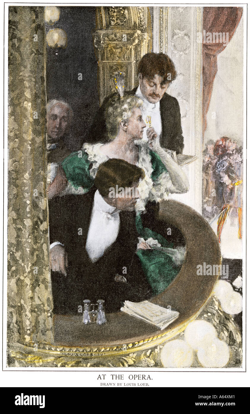 Upperclass family attending the opera in their box seats circa 1900. Hand-colored halftone of an illustration - Stock Image