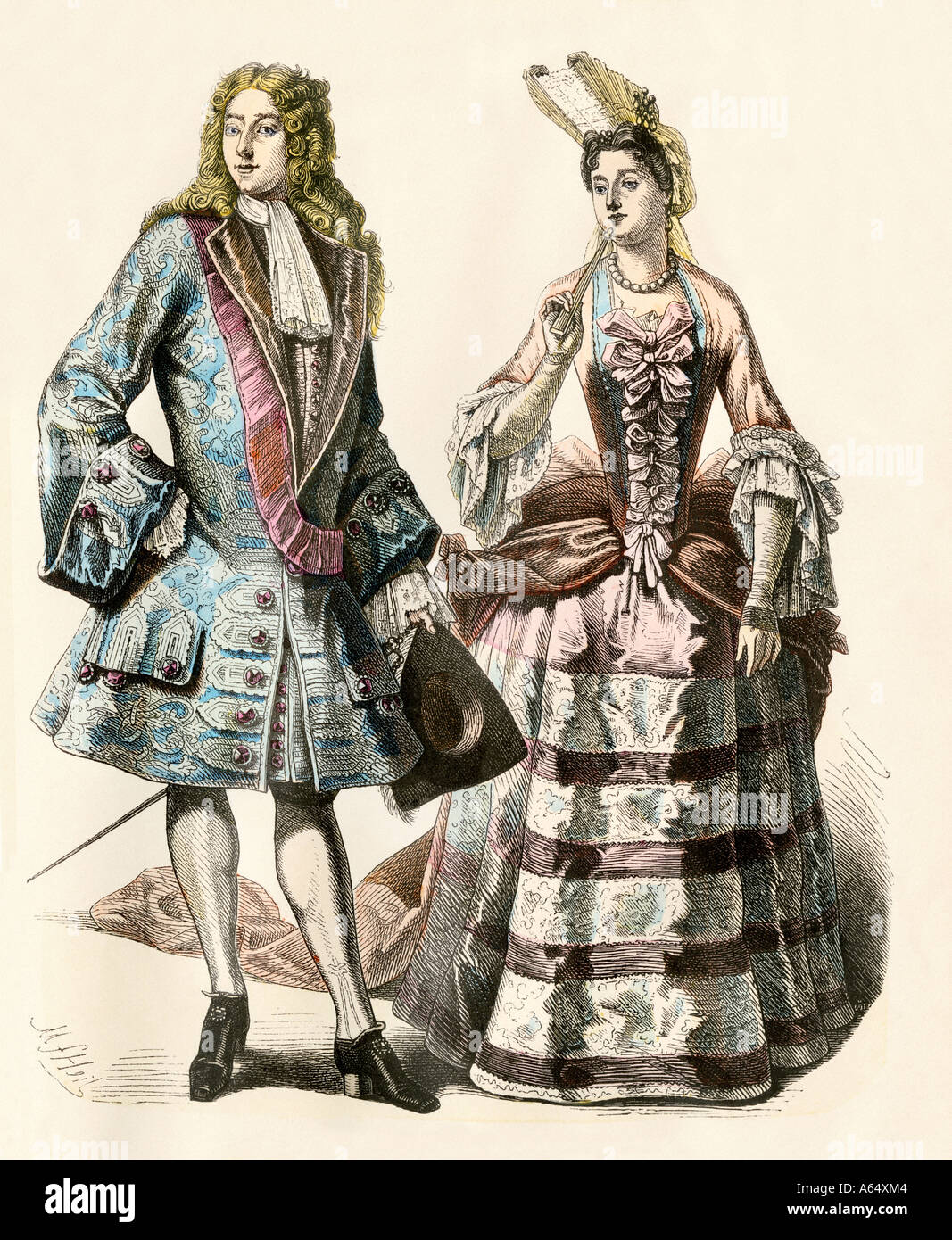 Gentleman and lady of Louis XIVs court France early 1700s. Hand-colored print Stock Photo