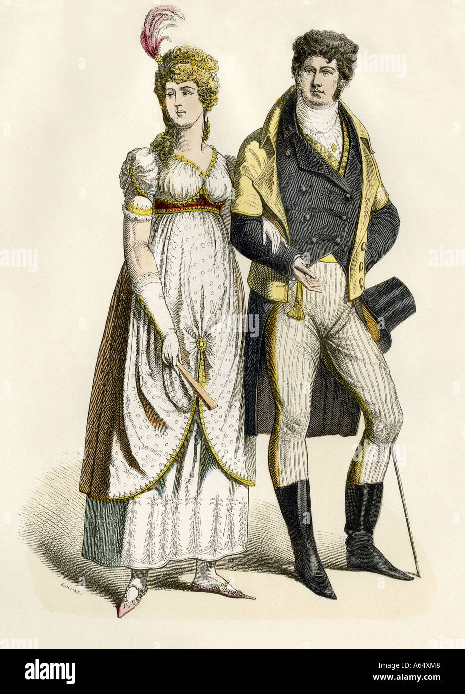 Fashionable German couple about 1800. Hand-colored print - Stock Image