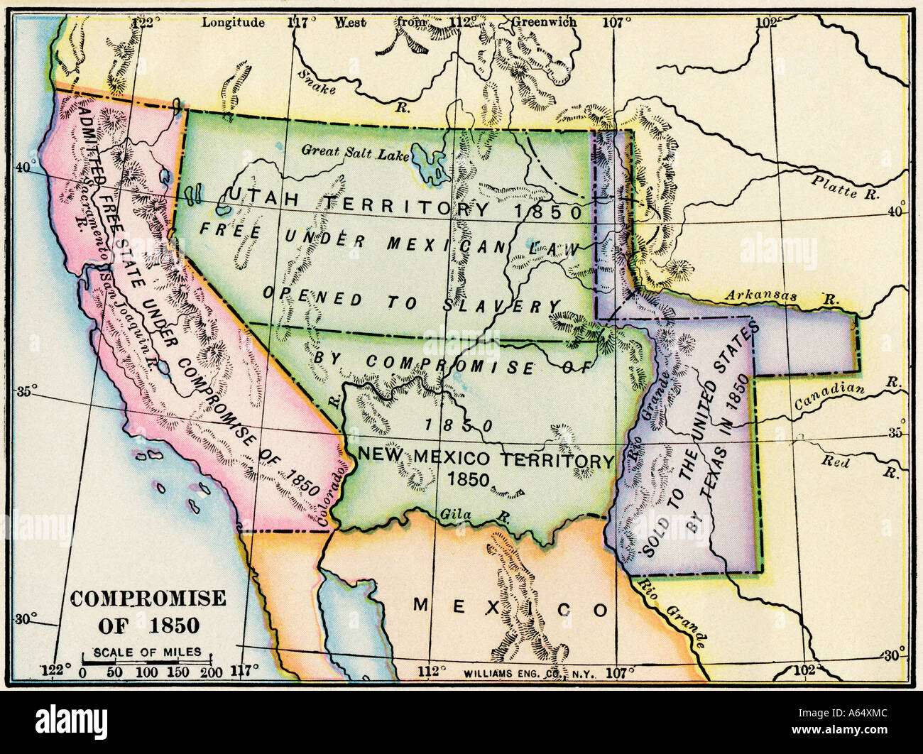 Map showing the expansion of slavery in western US territory after