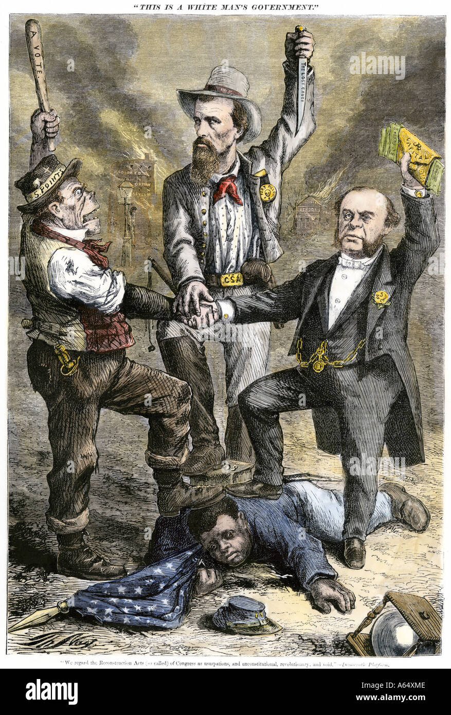 Freed slave held down by an immigrant a businessman and a southerner declare a white male government 1868. Hand-colored woodcut of Thomas Nast cartoon - Stock Image