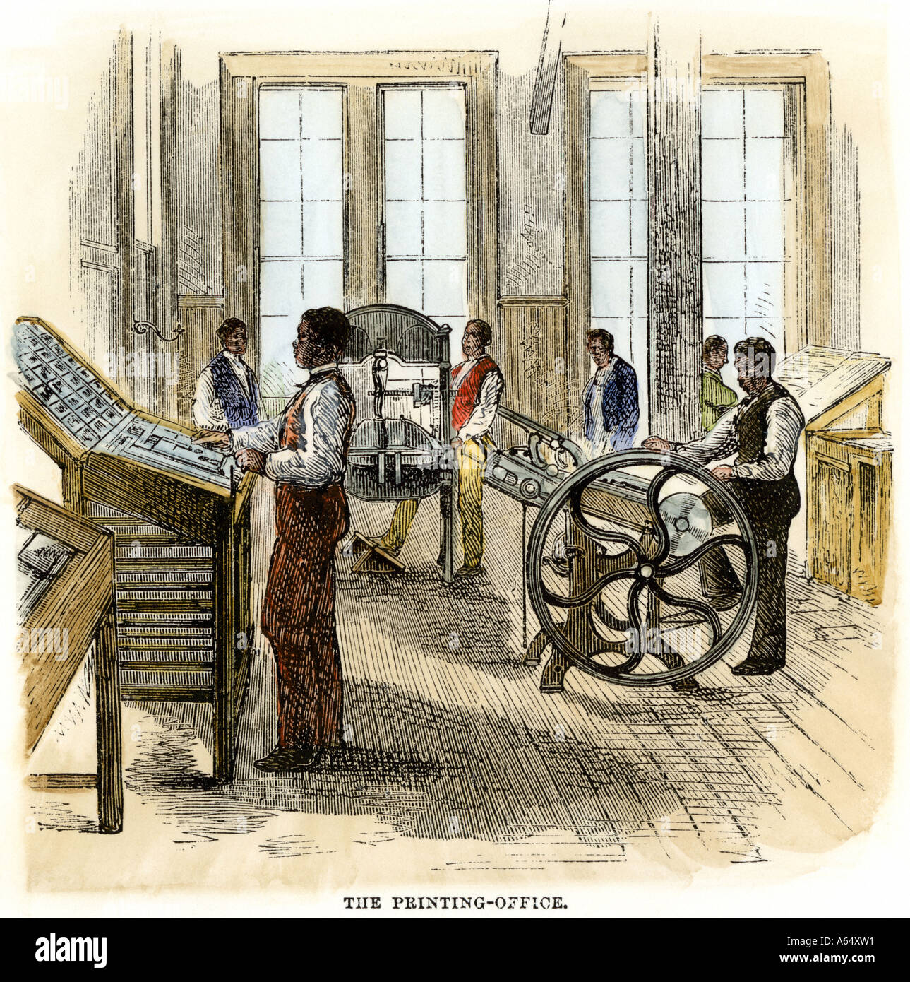 Former slaves learning printing at Hampton Institute in Virginia during Reconstruction 1870s. Hand-colored woodcut - Stock Image