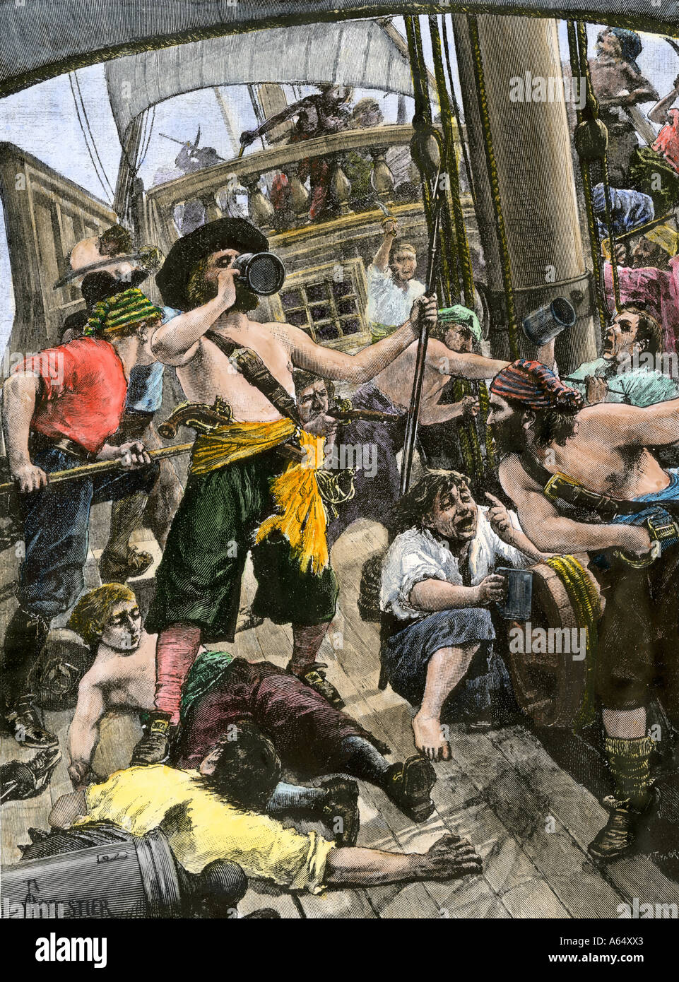 Drunken pirates aboard a sailing ship. Hand-colored woodcut - Stock Image
