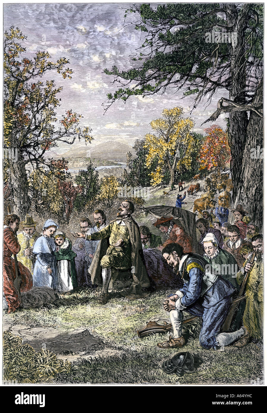Puritan group led by Joseph Hooker settles Hartford on the Connecticut River 1636. Hand-colored woodcut - Stock Image