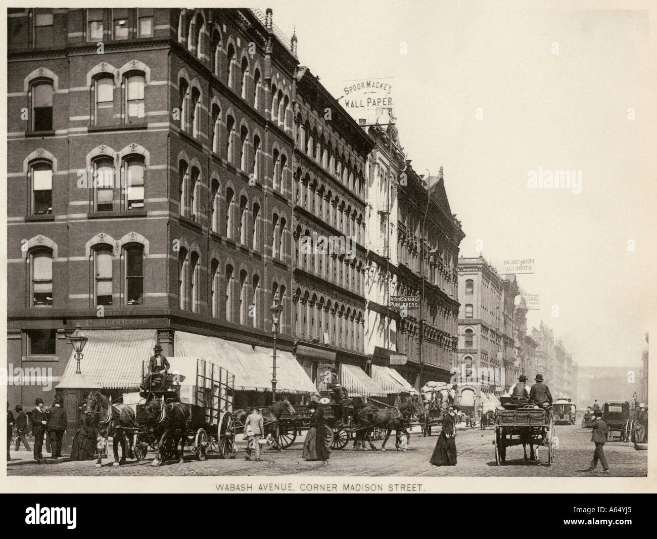 Wabash Avenue at the corner of Madison Street downtown Chicago 1890s. Albertype - Stock Image