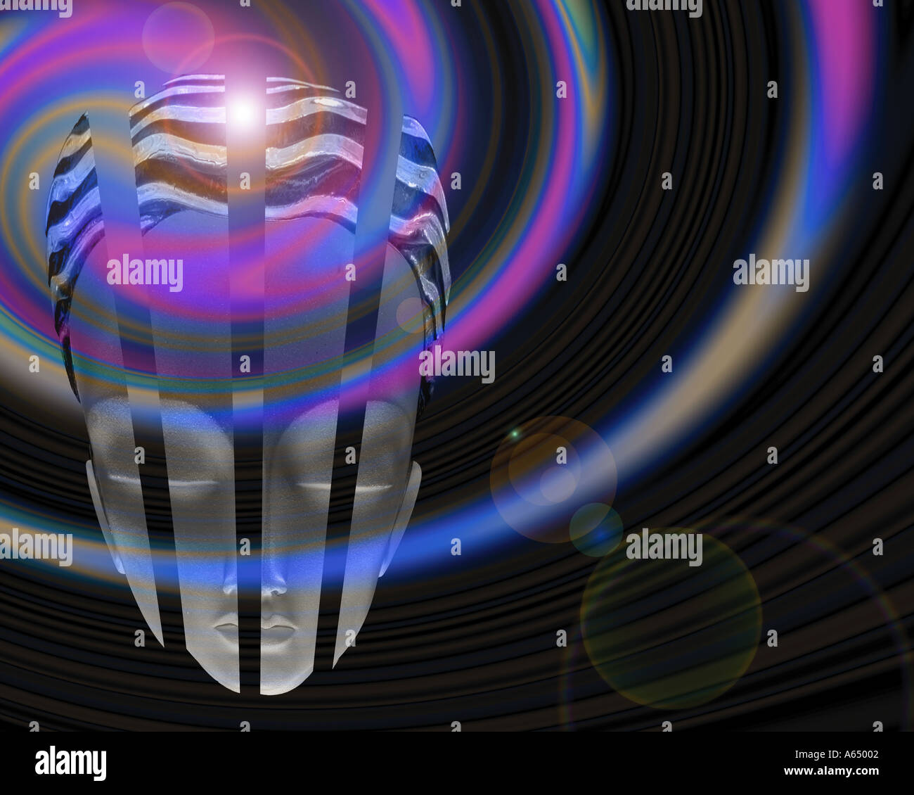 Glass mannequin head and abstraction of light - Stock Image