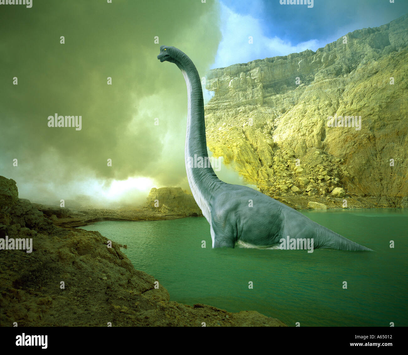Brachiosaurus in crater lake of active volcano - Stock Image