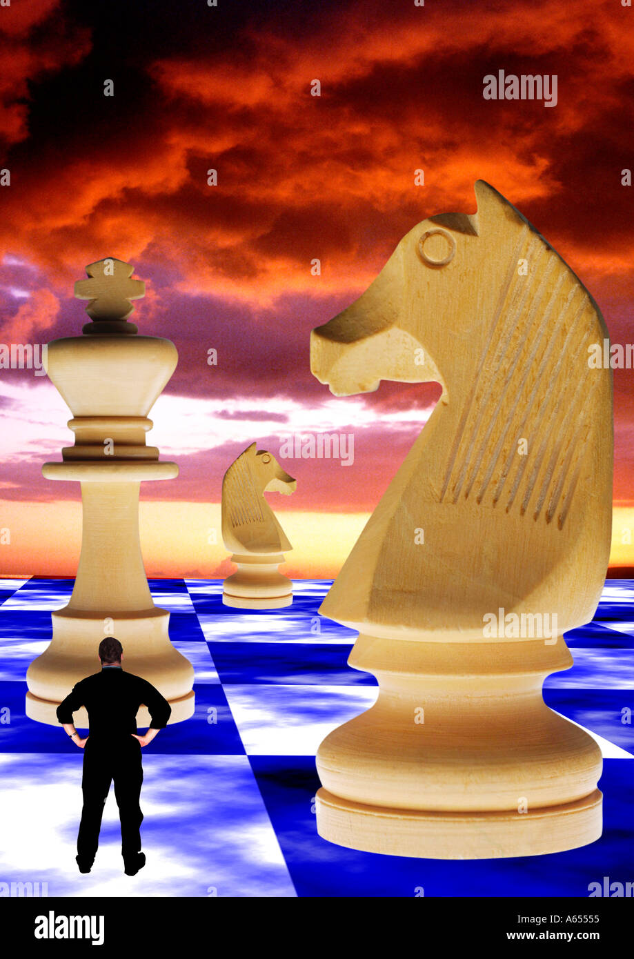 small, tiny, Man looking up at, Giant, Chess, pieces, Game, Abstract concept special effects, strategy, theory, rational, study, mathematical, model, - Stock Image