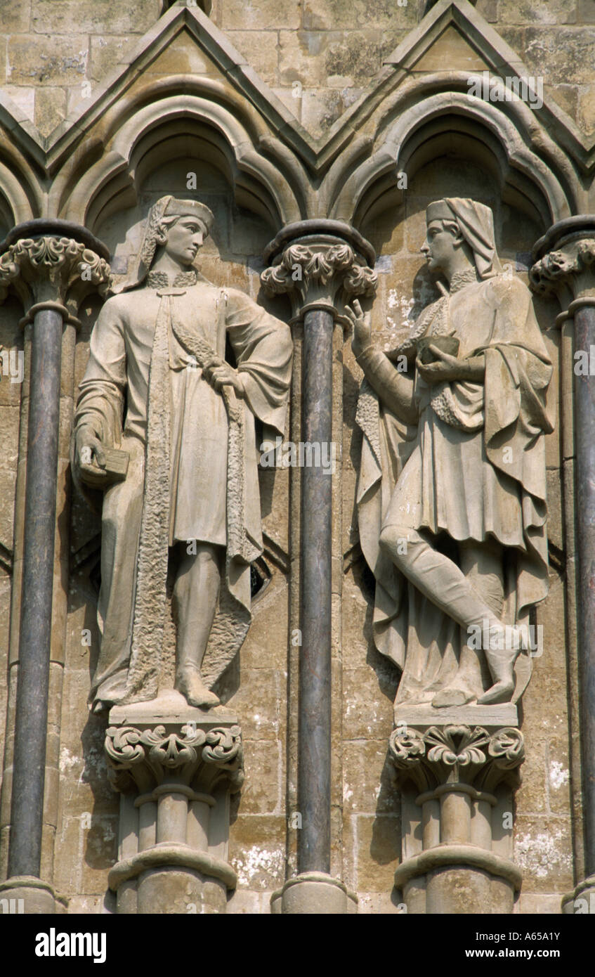 St Cosmos & St Damian Salisbury Cathedral West Front - Wiltshire Stock Photo