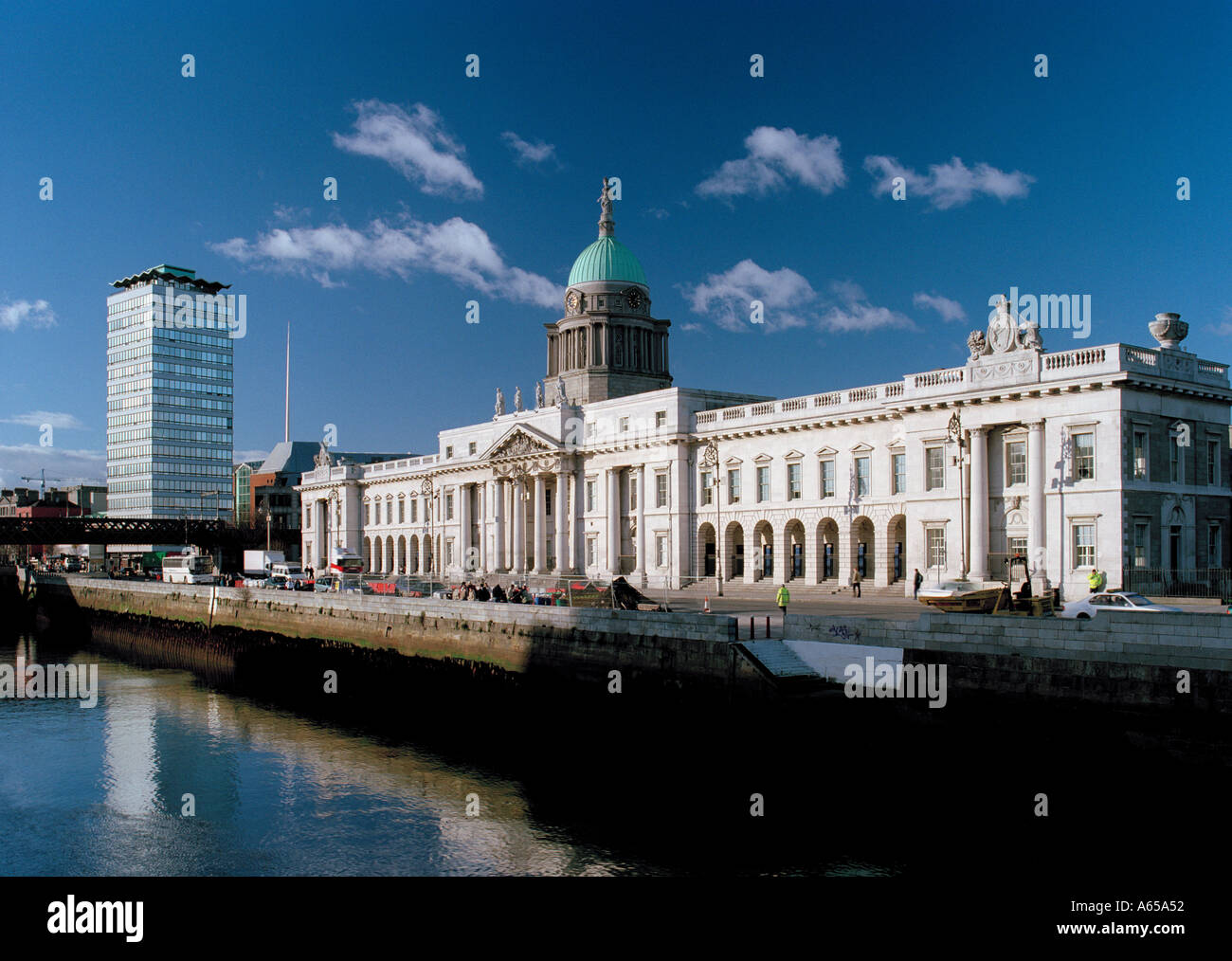 The Spire of Dublin between Liberty Hall and the Customs House - Dublin, Ireland - Stock Image