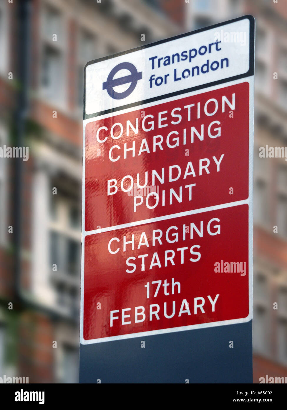 Transport for London Congestion Charging road sign regulating access to roads & streets in central London England UK - Stock Image