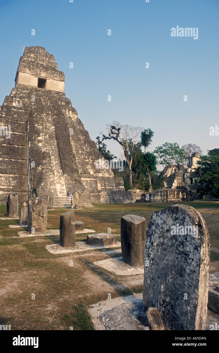 Tikal Guatemala The Mayan temple in Tikal National Park - Stock Image