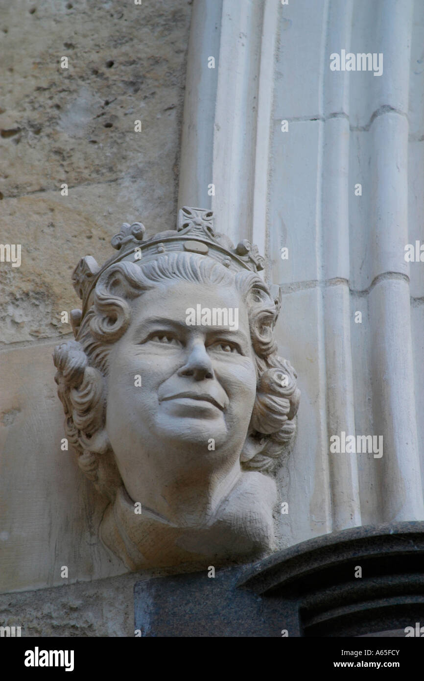 Queen Elizabeth II bust on left side of entrance to Chichester Cathedral, West Sussex, UK. Stock Photo