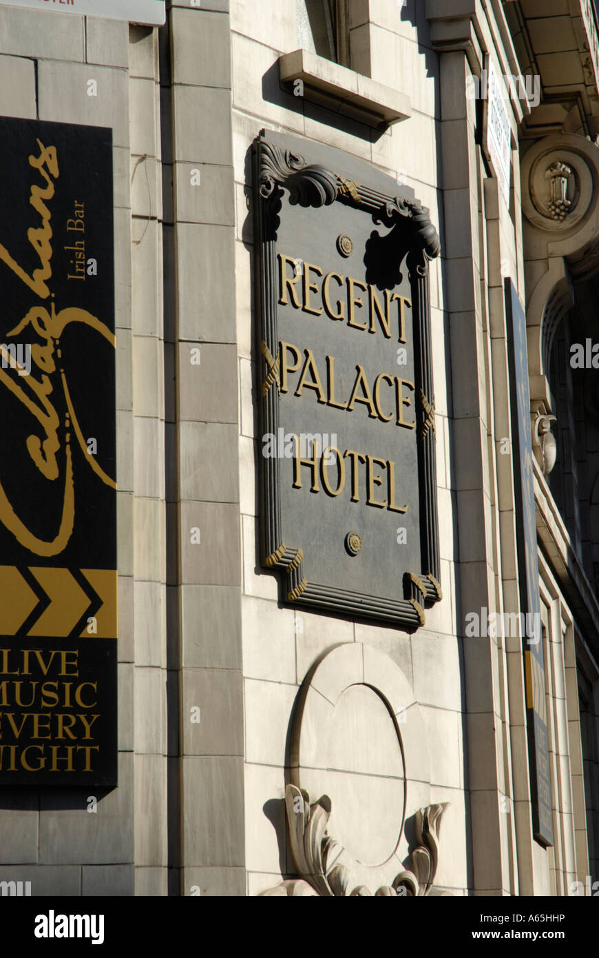 Close up of ornate sign outside the Regent Palace Hotel near Stock
