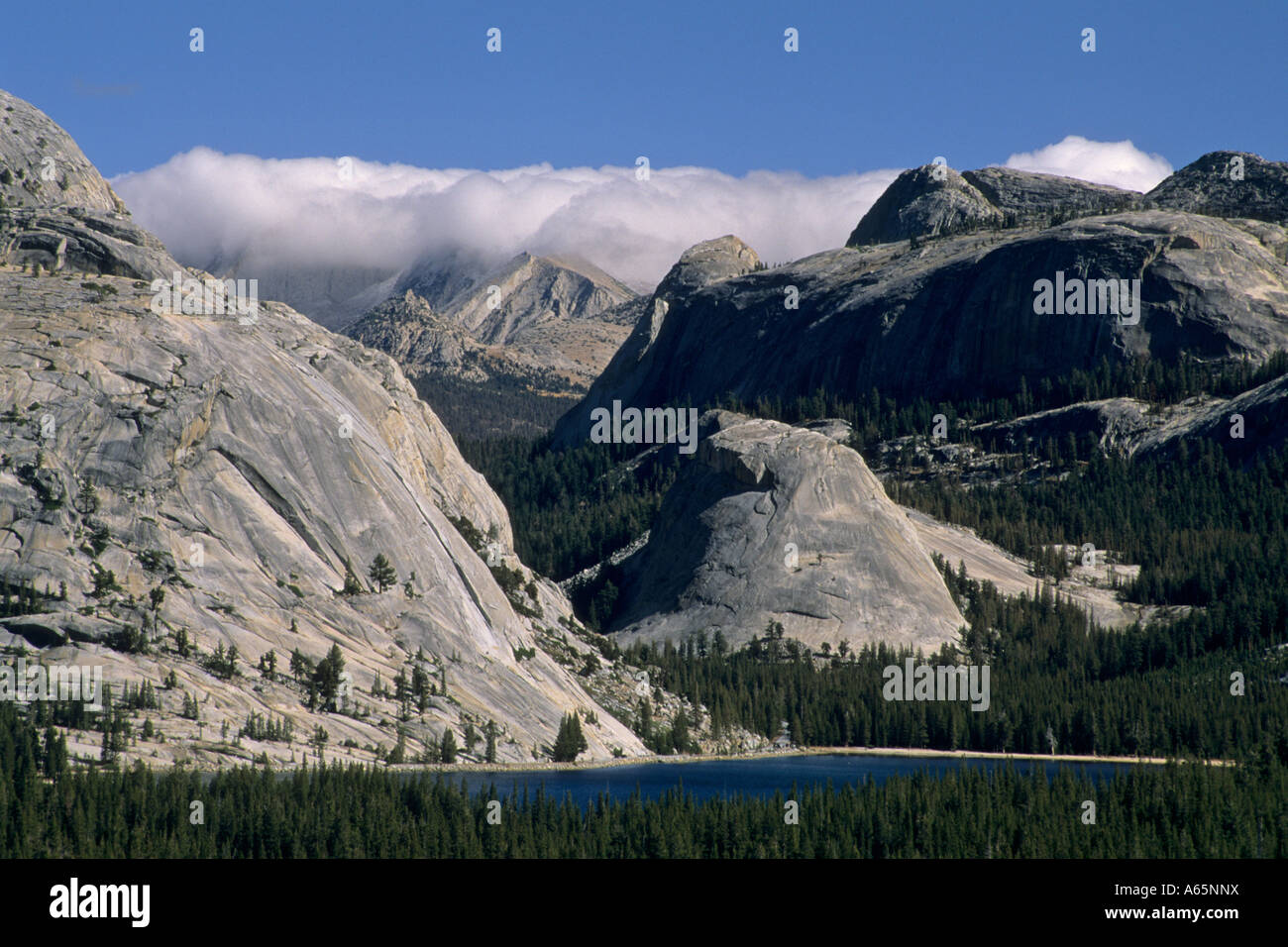 Storm front over the High Sierra crest above Tenaya Lake Tioga Pass Road Yosemite Nat l Park CALIFORNIA Stock Photo