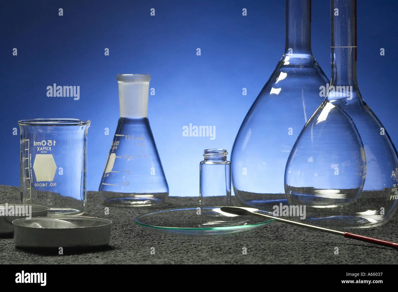 Clean Empty Chemistry Lab Beakers - Stock Image