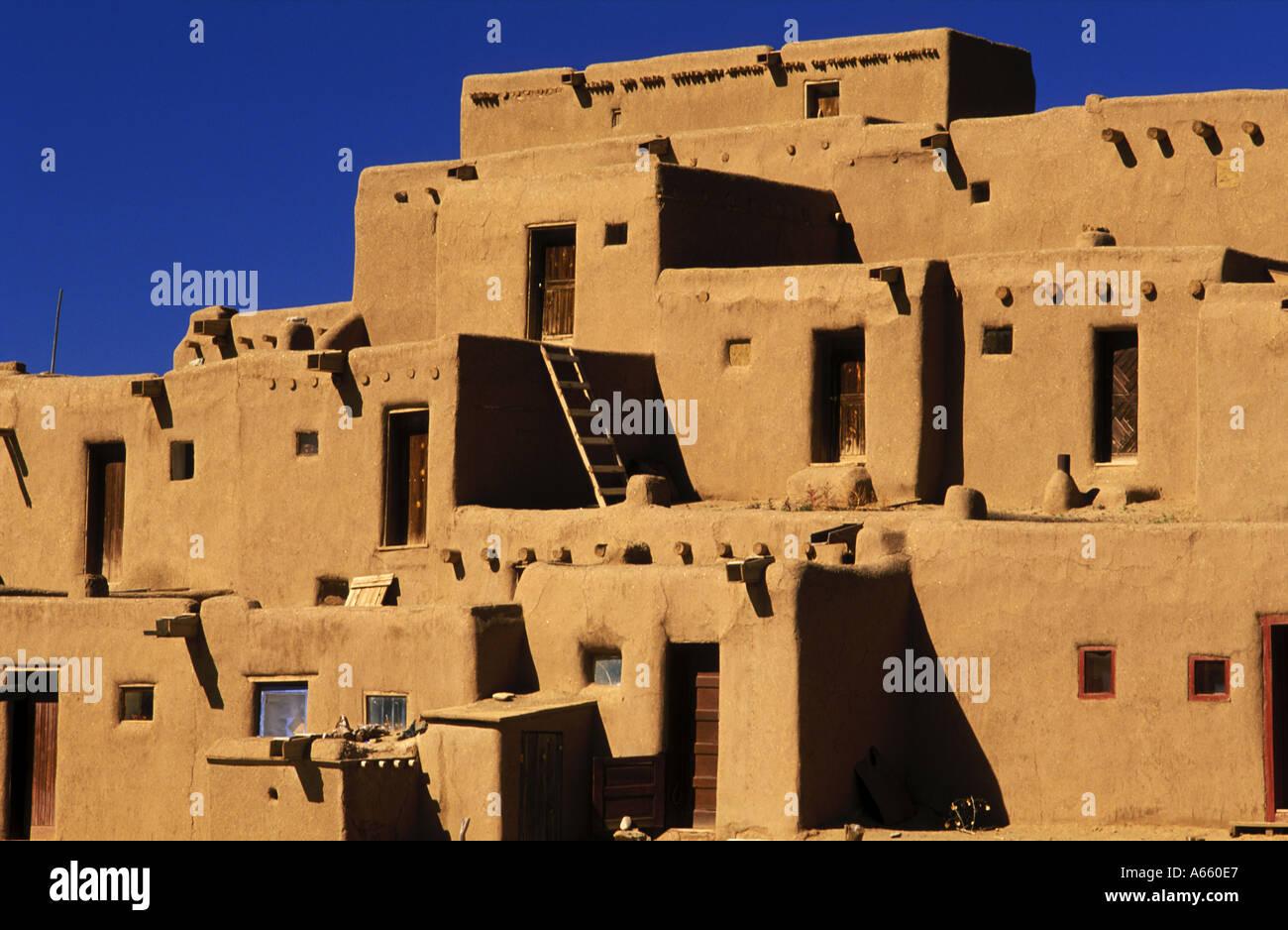 USA New Mexico Taos Pueblo continuous habitation since A D 1350 - Stock Image