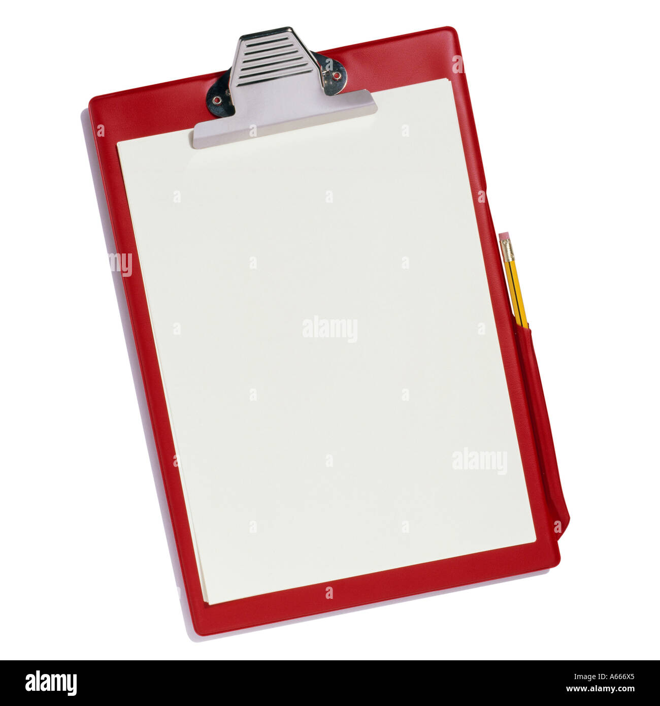 A red clipboard with plain paper and a yellow pencil - Stock Image