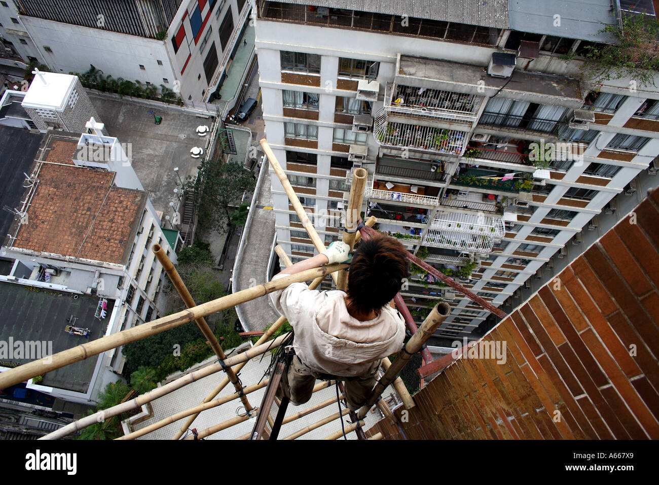 Hong Kong, young man fastens together bamboo while building scaffolding high above the ground - Stock Image