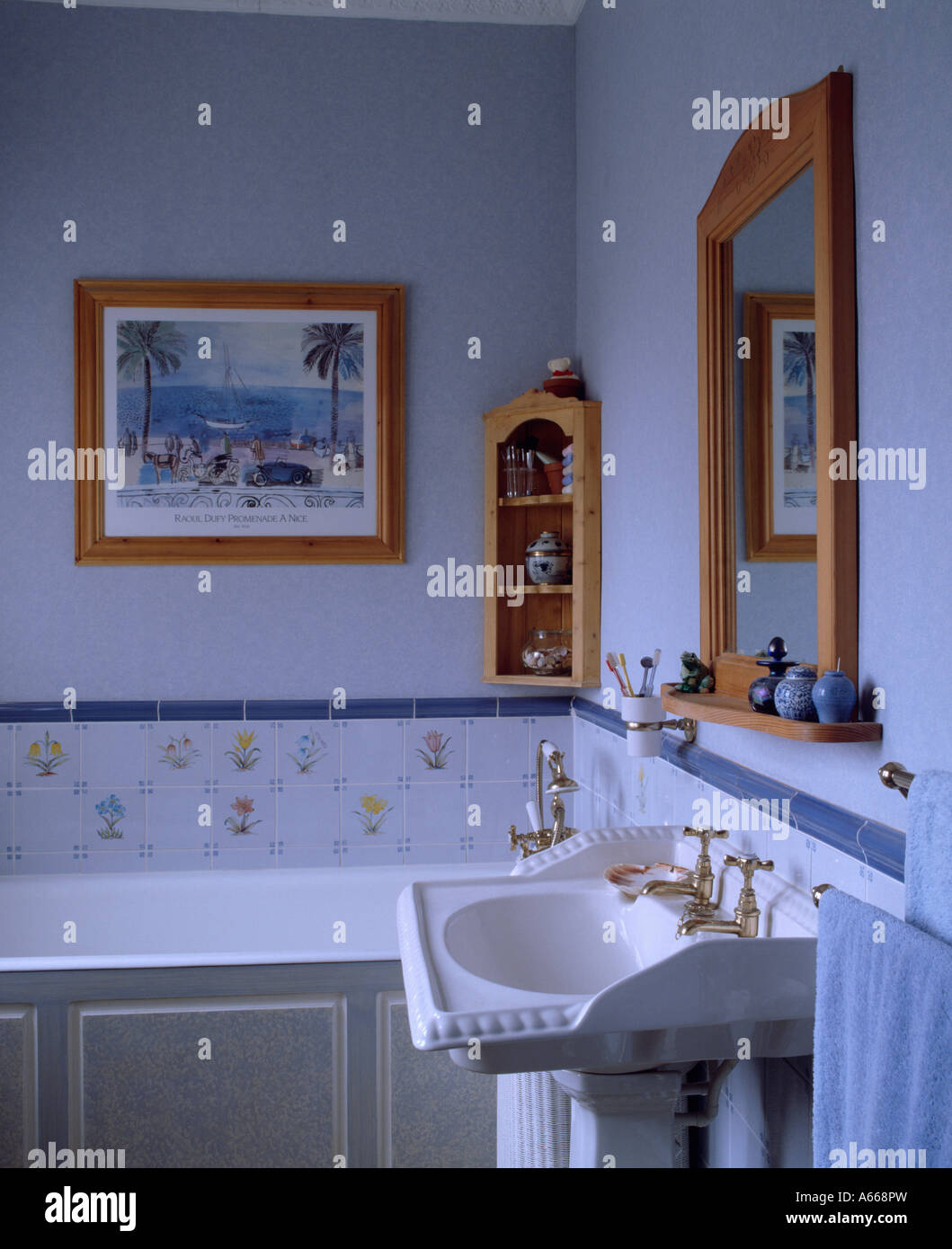 Outstanding Small Pastel Blue Bathroom With White Basin Stock Photo Download Free Architecture Designs Ferenbritishbridgeorg
