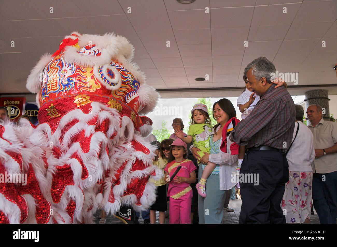 65785d828 Malaysian Lion dance entertains children Stock Photo  11474668 - Alamy