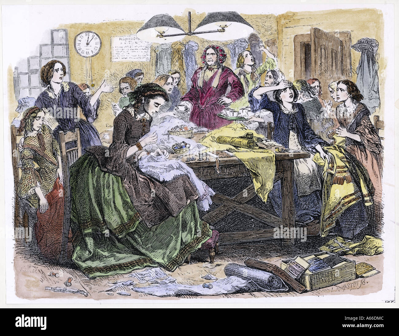 Sweatshop Circa 1870 - Stock Image