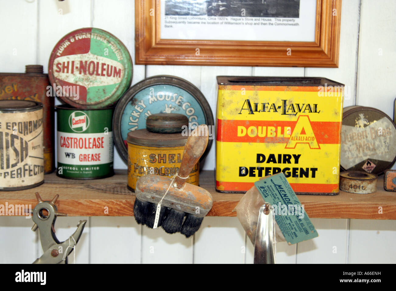 SELECTION OF PRODUCTS FROM AUSTRALIAN HISTORY HORIZONTAL BAPDB10233 - Stock Image