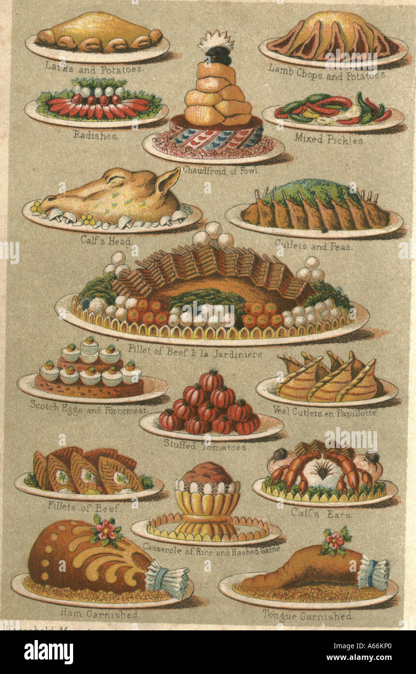 Meat dishes circa 1875 - Stock Image