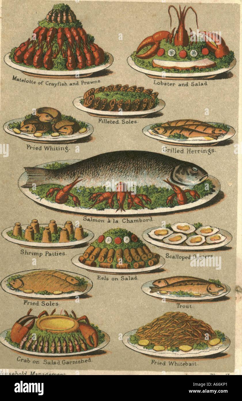 Fish dishes circa 1875 - Stock Image