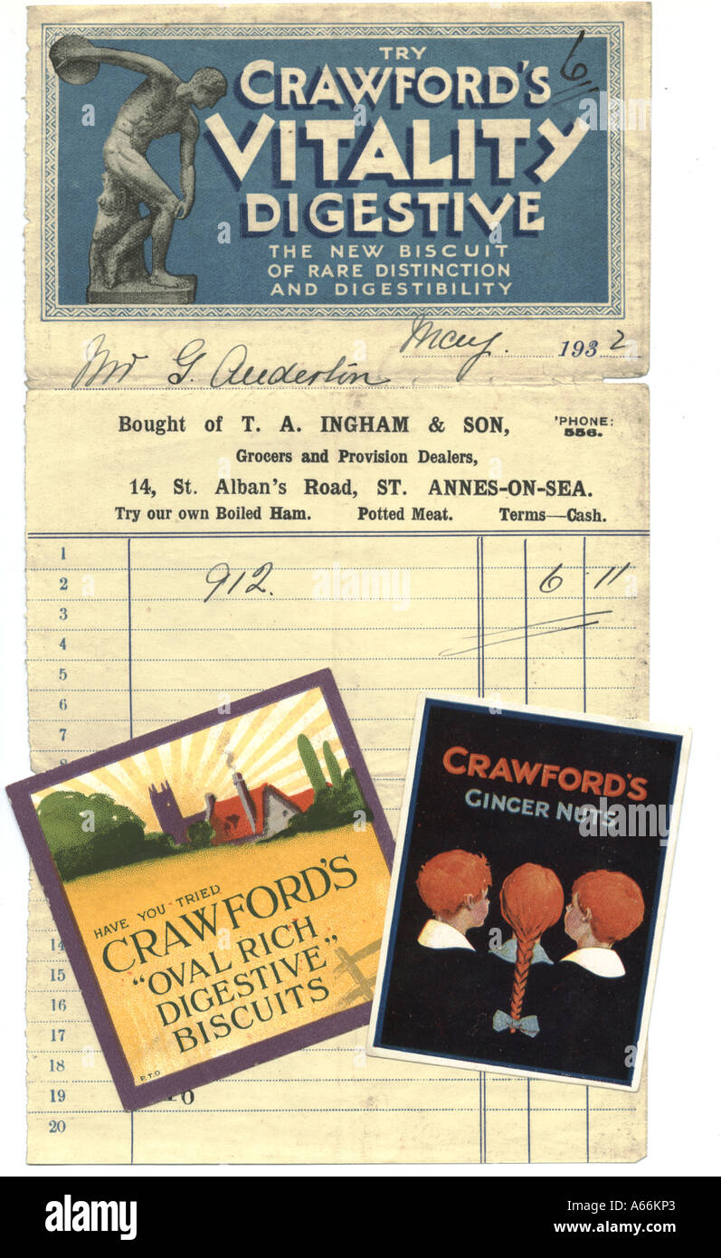 Crawford's biscuits advertisements and advertising billhead circa 1930 - Stock Image