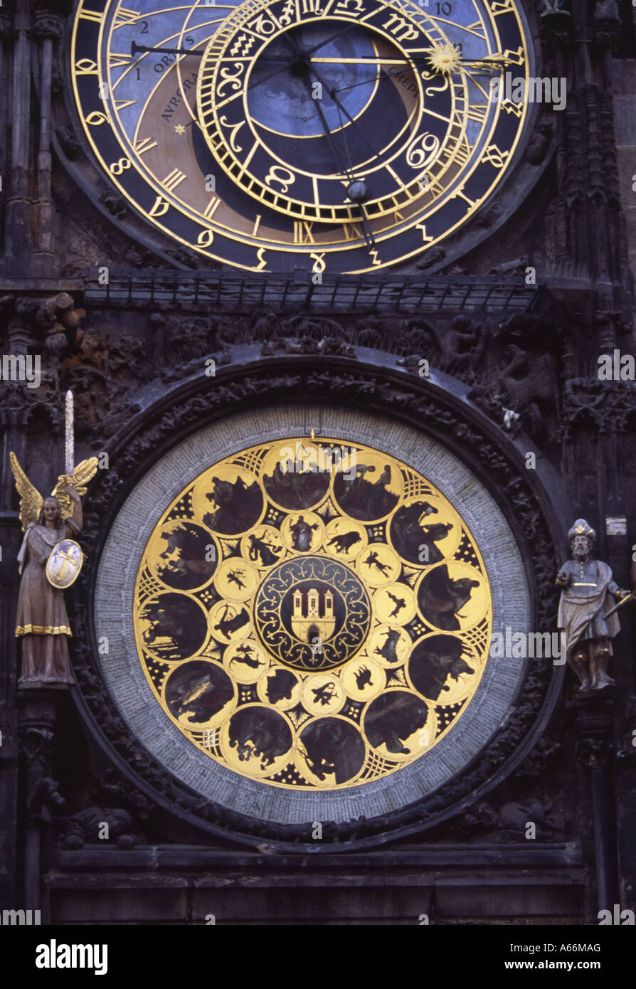 12 medallions with signs of the zodiac by Josef Manes, beneath the Astronomical Clock,  Old Town Square, Prague Stock Photo