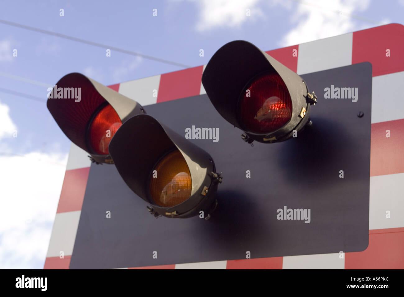 Railway Controlled Level Crossing Lights UK Stock Photo