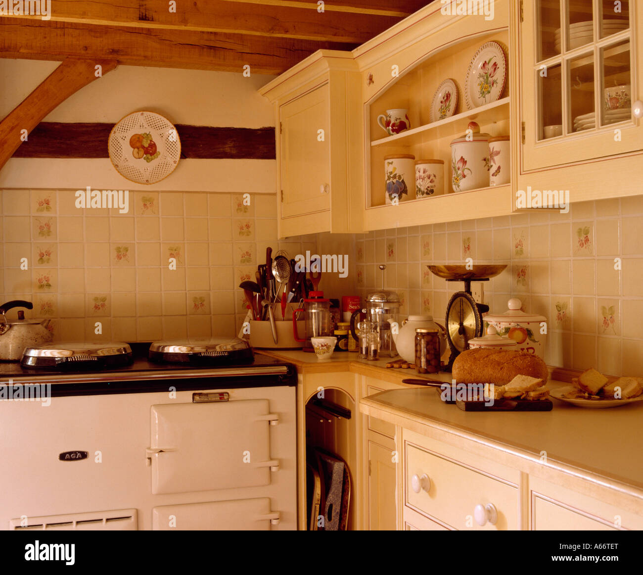 white aga oven in small cottage kitchen stock photo 11479727 alamy