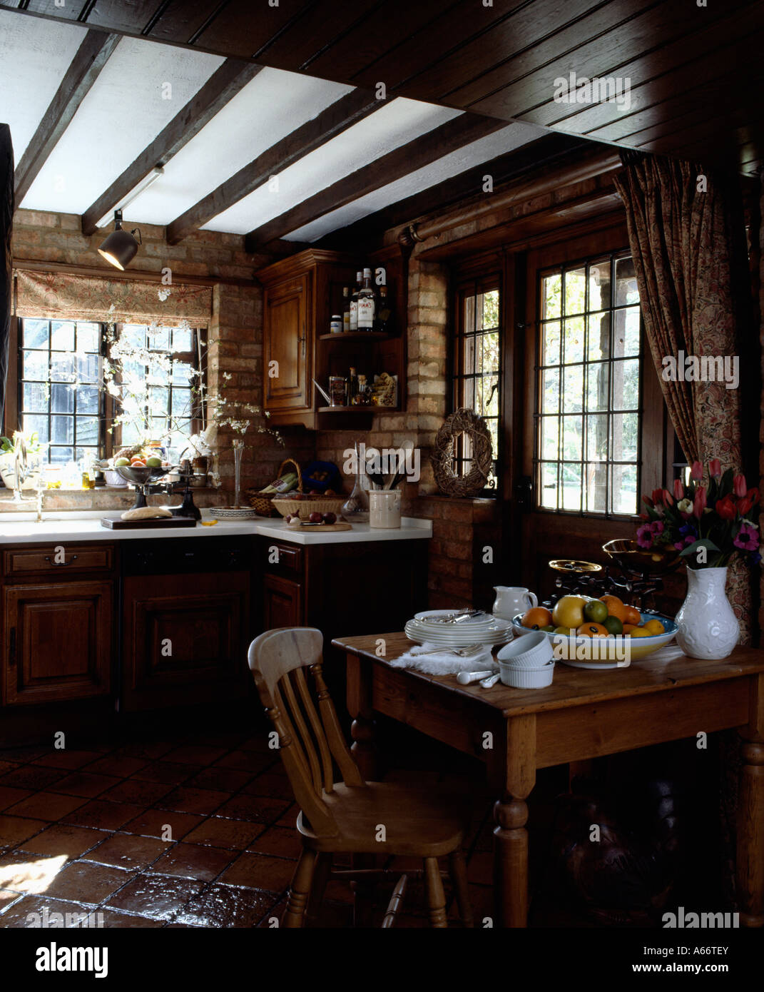 wooden cottage kitchen country cottage kitchen with beamed ceiling and small 1158