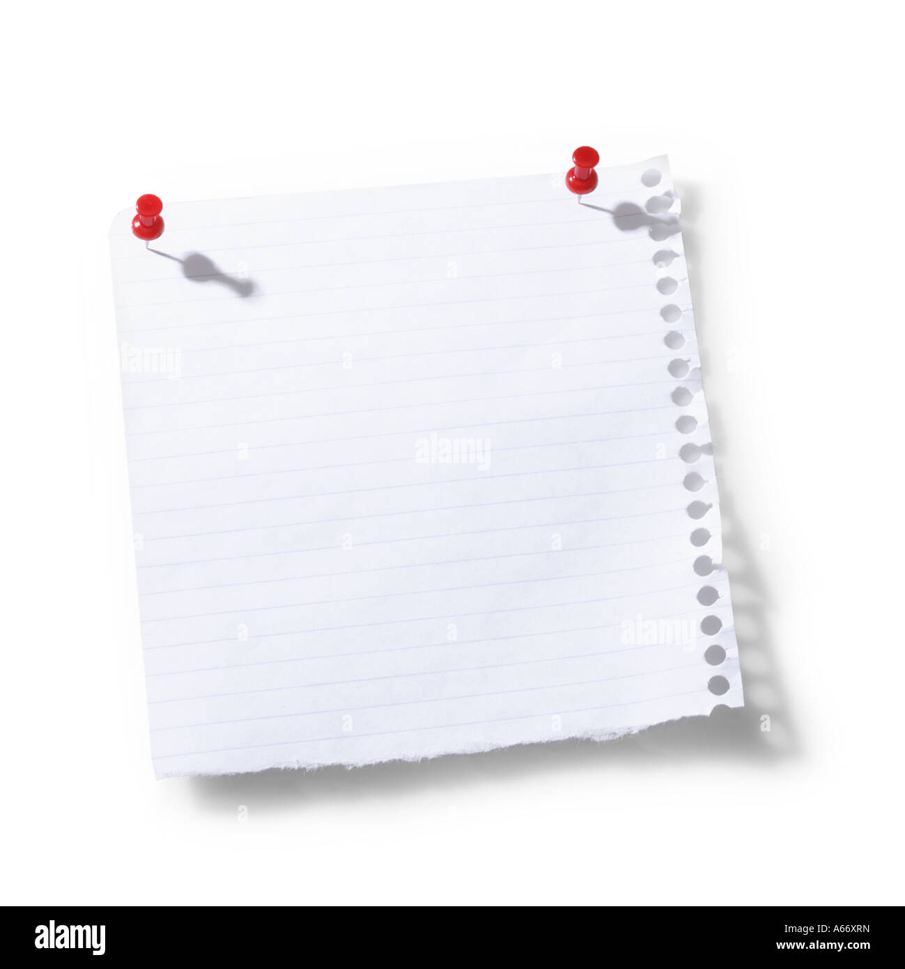 Scrap paper with tacks cut out on white background - Stock Image