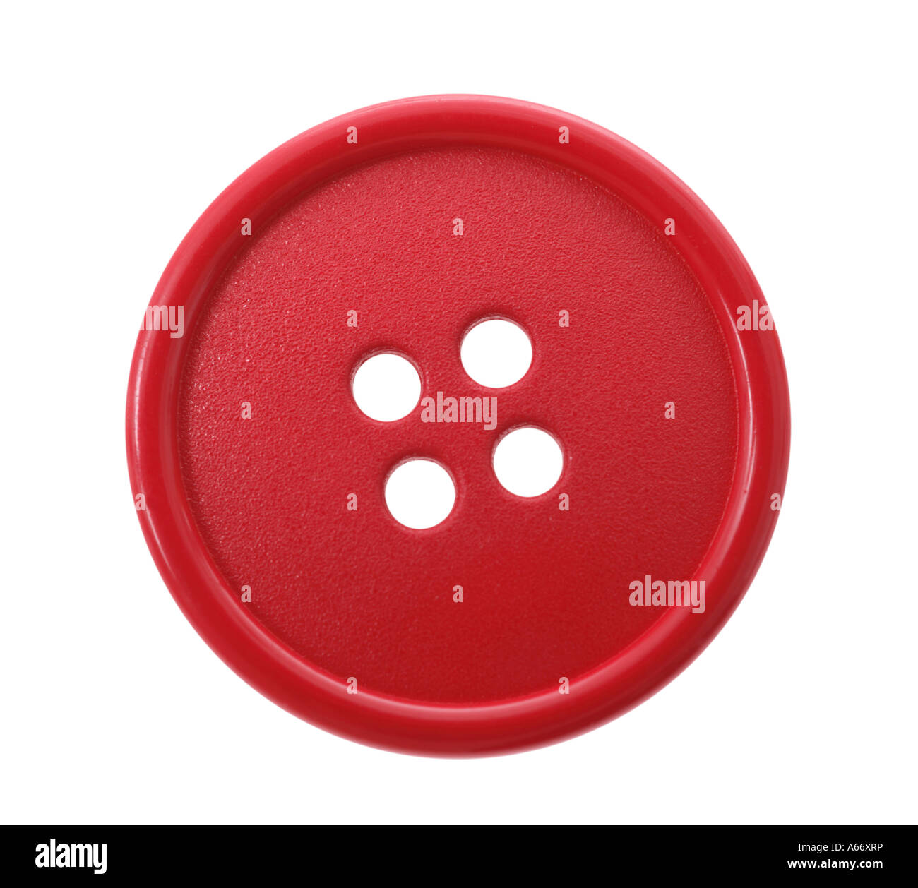 Red button cut out on white background - Stock Image