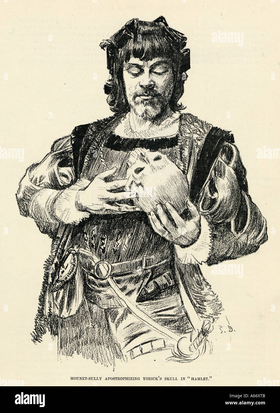 Hamlet With Skull - Stock Image