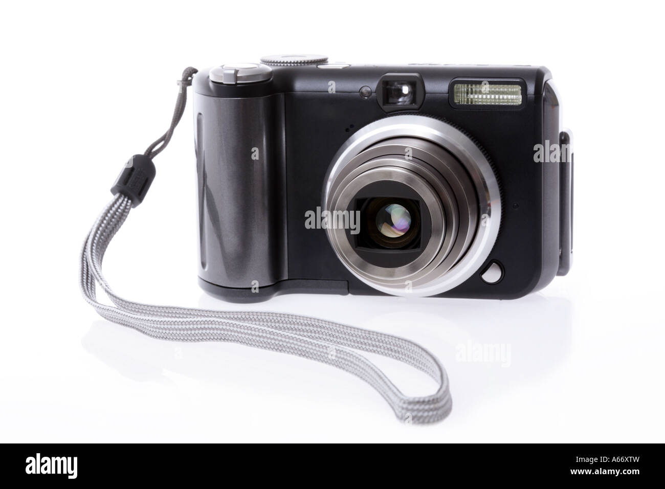Digital camera cut out on white background - Stock Image