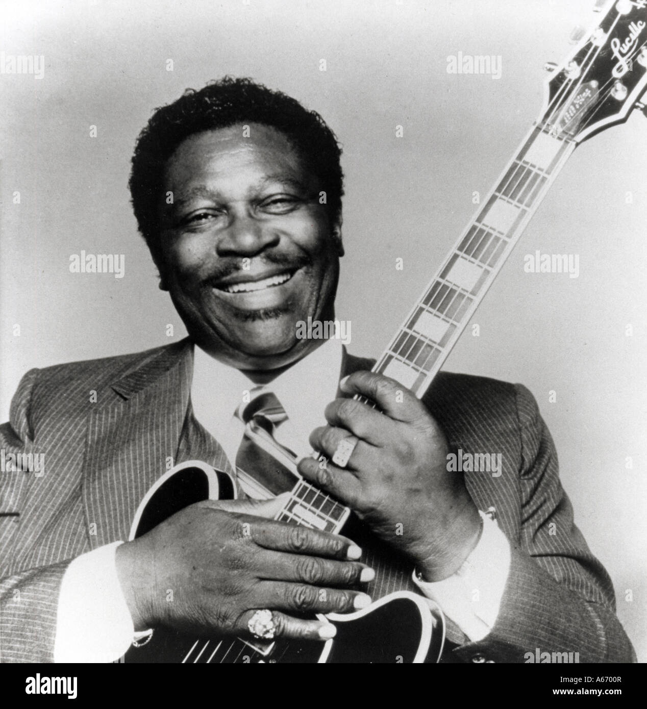 B B KING US Blues guitarist born 1925 with one of his trademark Lucille guitars - Stock Image