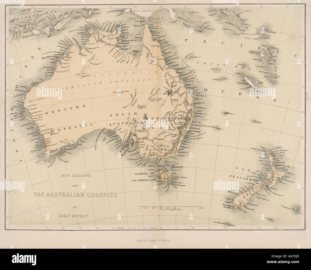 Map Of Australia Nz.Map Australia Nz 1862 Stock Photo 6560552 Alamy