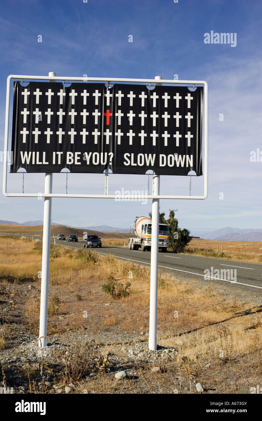 Road safety sign warning drivers to take care Lake Tekapo Central South Island New Zealand - Stock Image