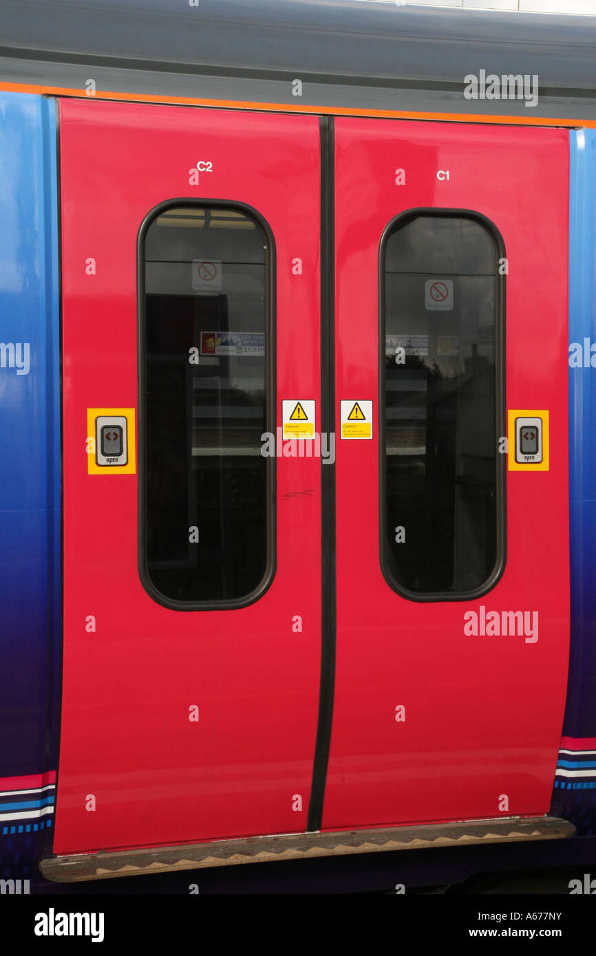 Sliding Doors Of First Capital Connect Commuter Train At Huntingdon