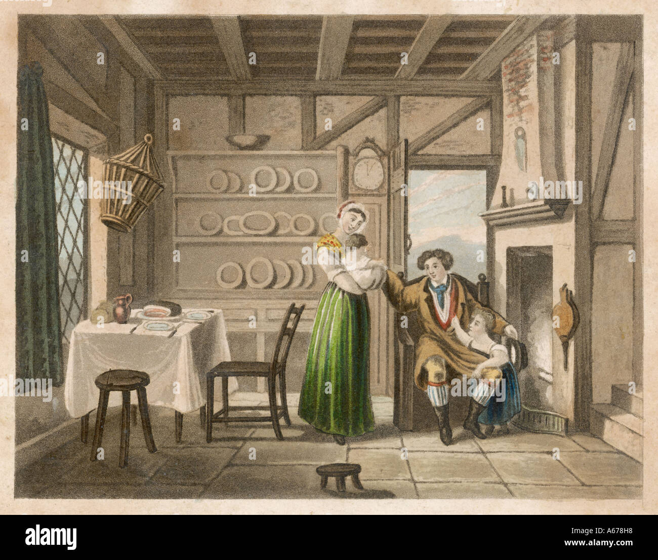 Family Cottage Home 1840 - Stock Image
