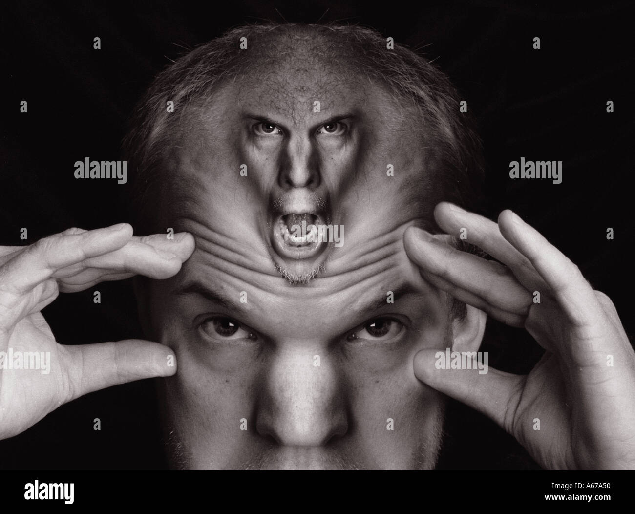 Surreal Monster like screaming man in another man s forehead Headache - Stock Image