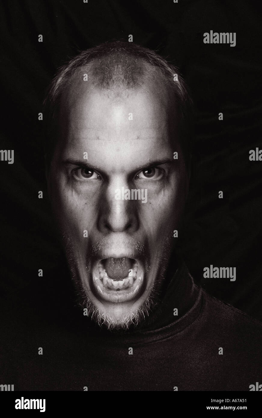 Surreal Screaming man s face illustration - Stock Image