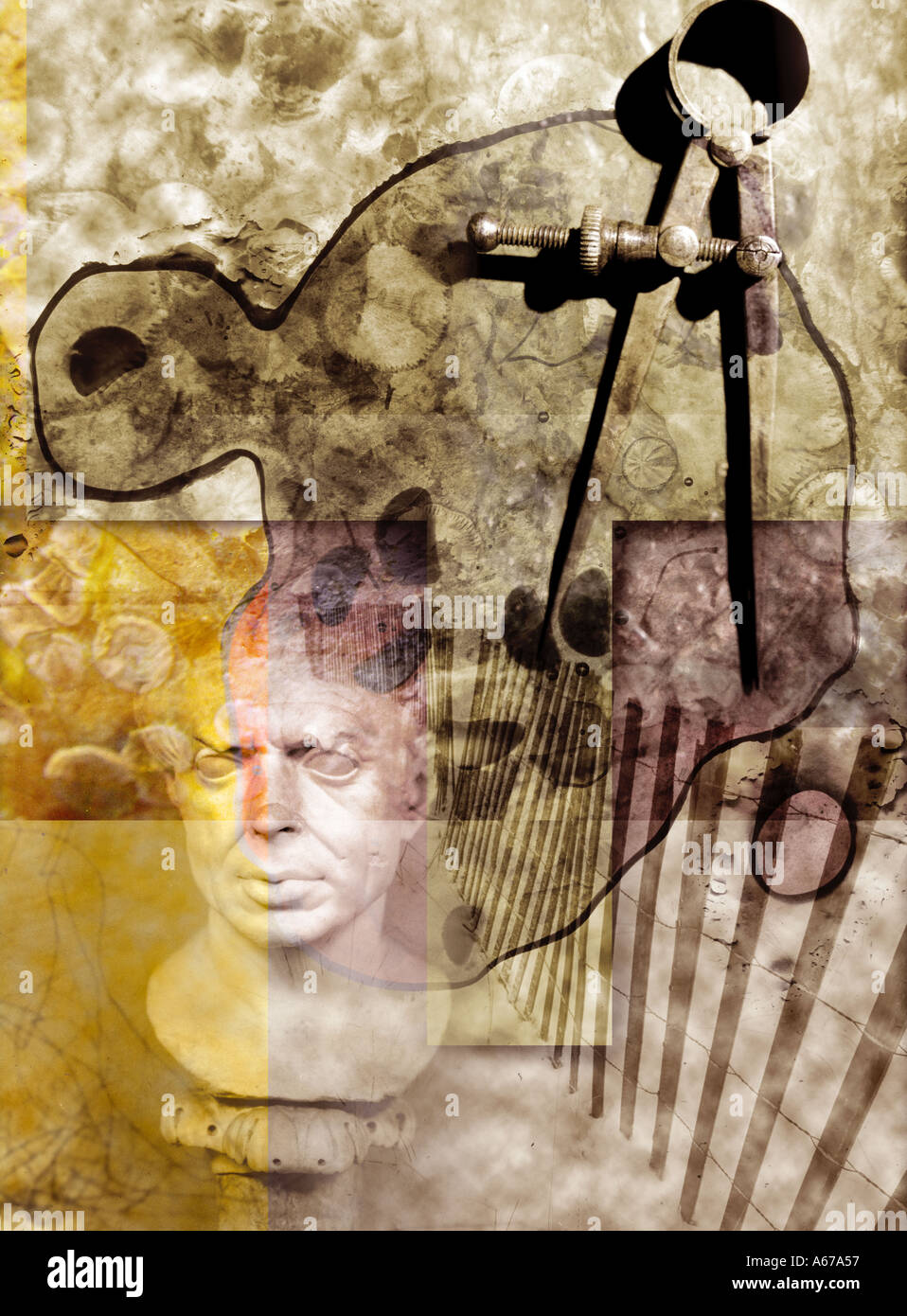 Drafting tool and Roman bust collage - Stock Image