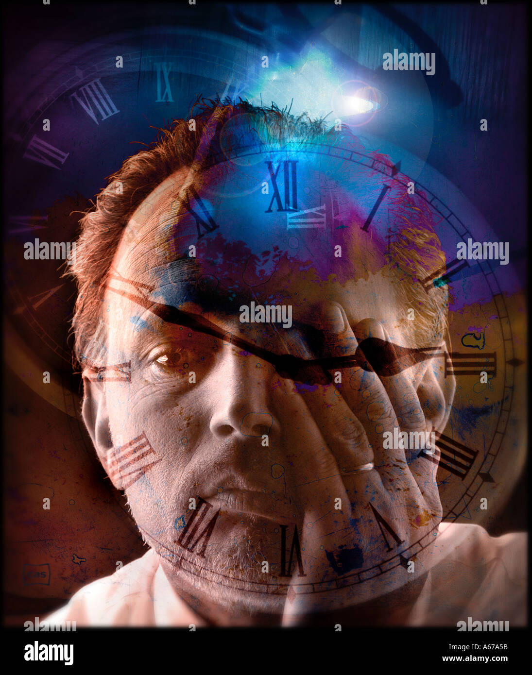 Time change Man rubbing eye with clock face and dark sky in collage time concept - Stock Image