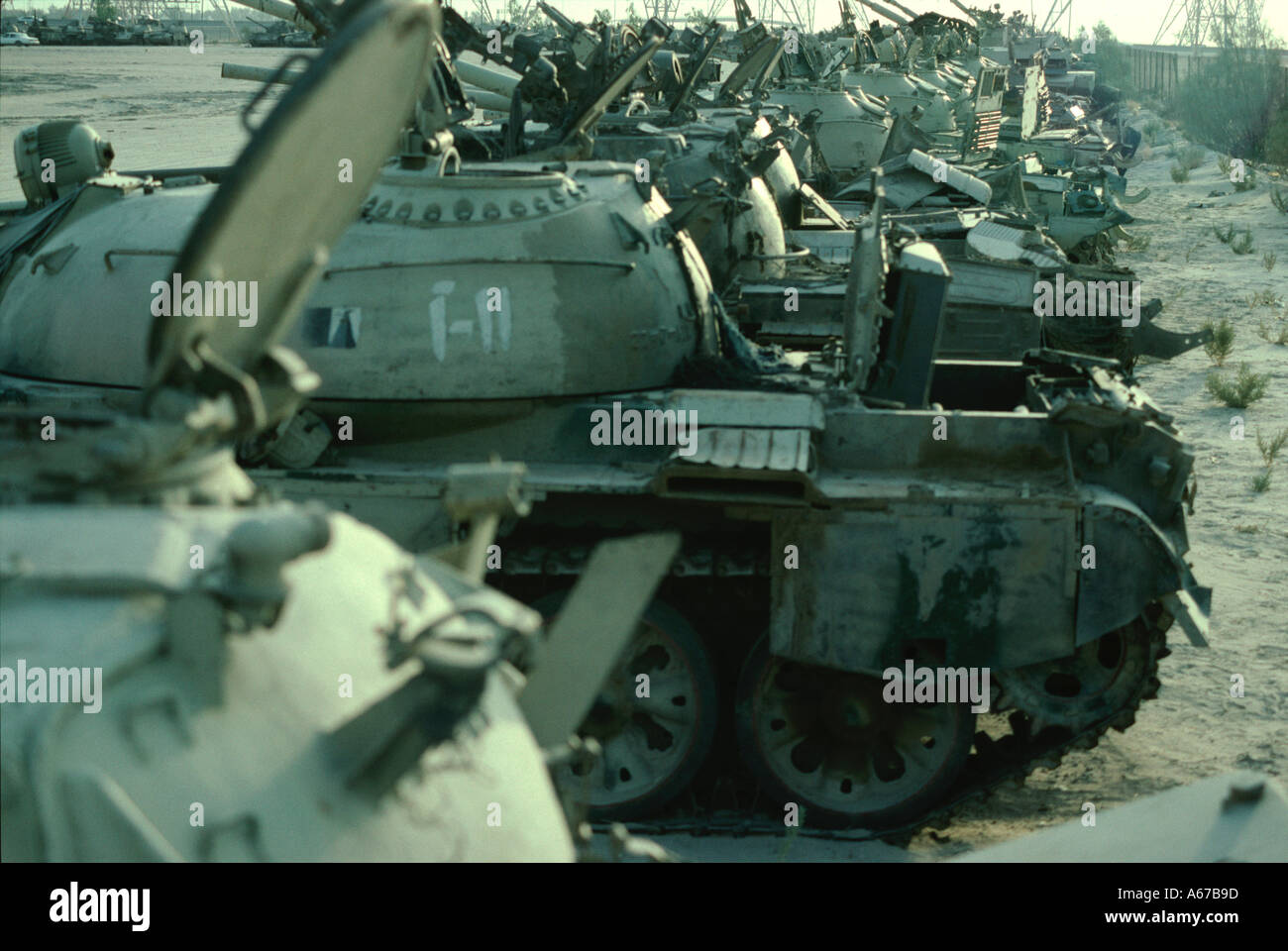 Captured Iraqi Tanks on show in Kuwait after the first Gulf War - Stock Image