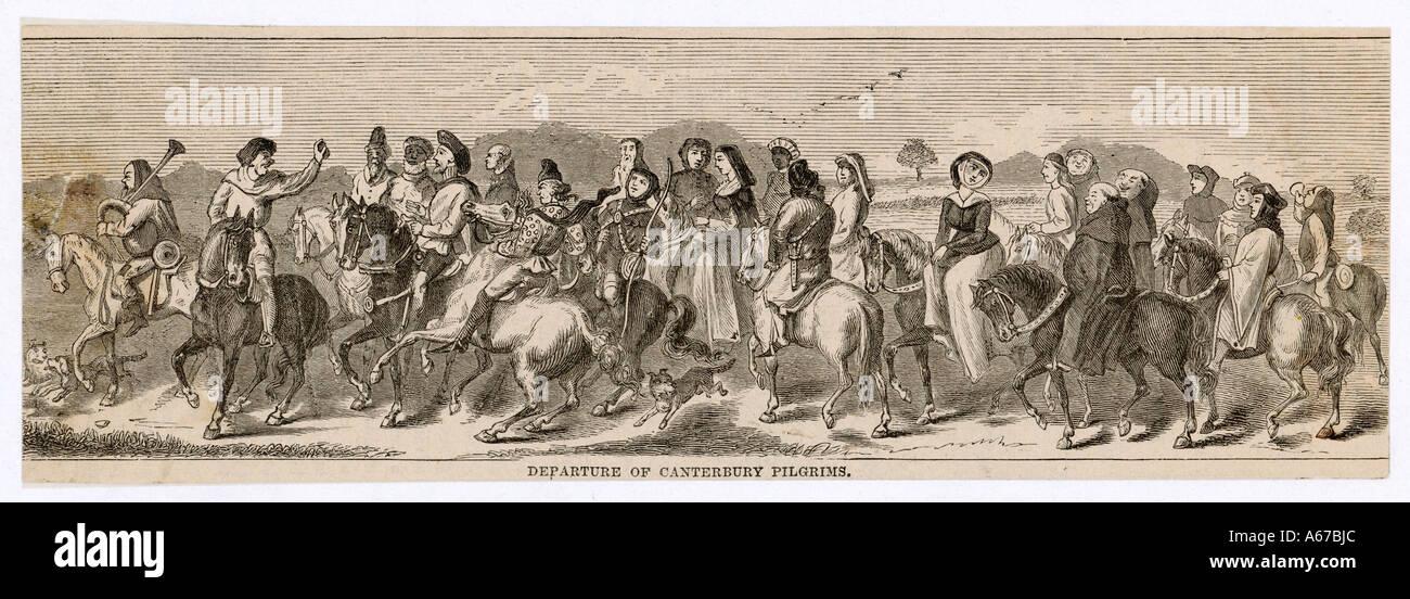 Pilgrims Depart Chaucer - Stock Image