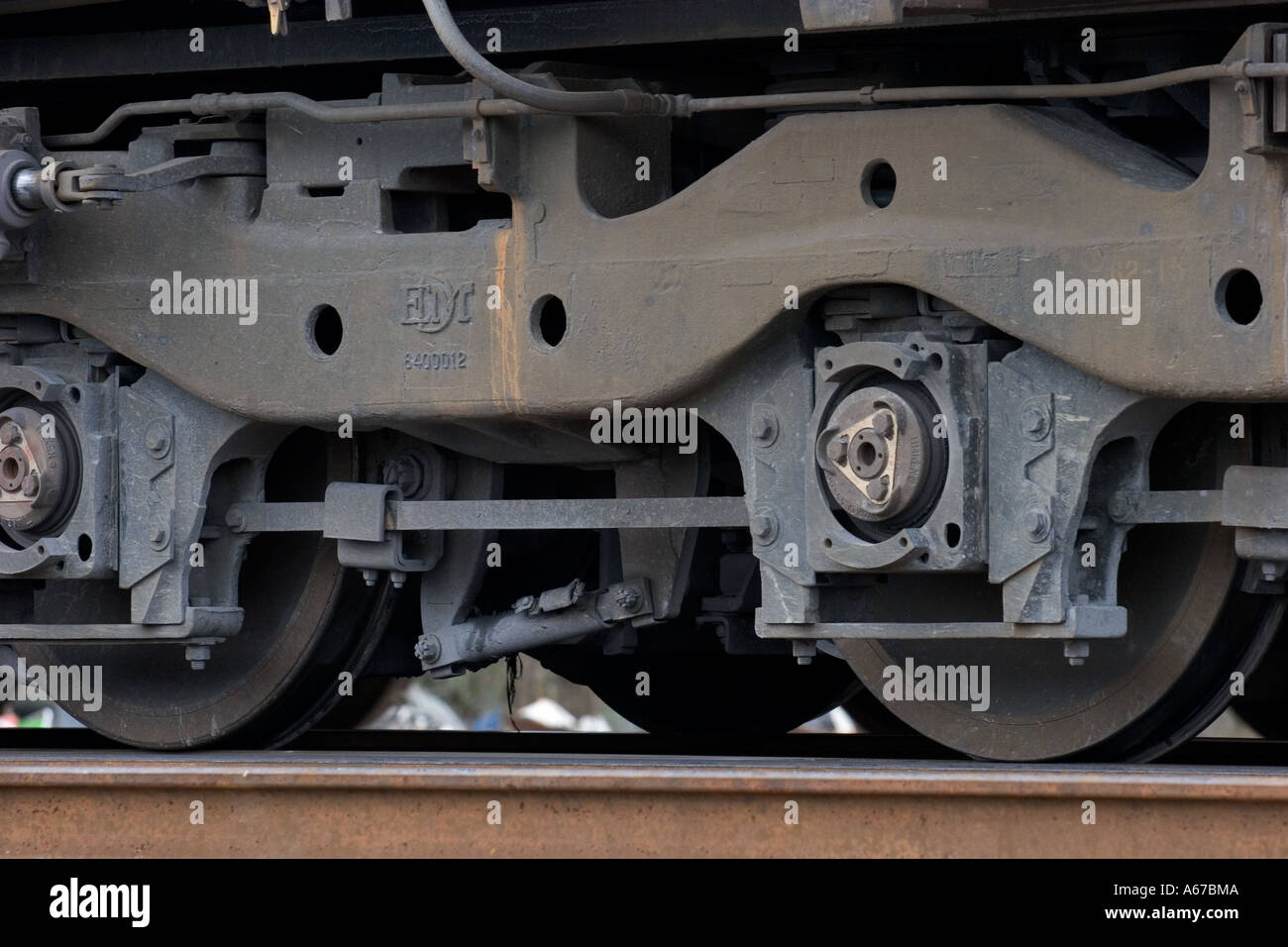 Diesel electric locomotive trucks or undercarriage - Stock Image